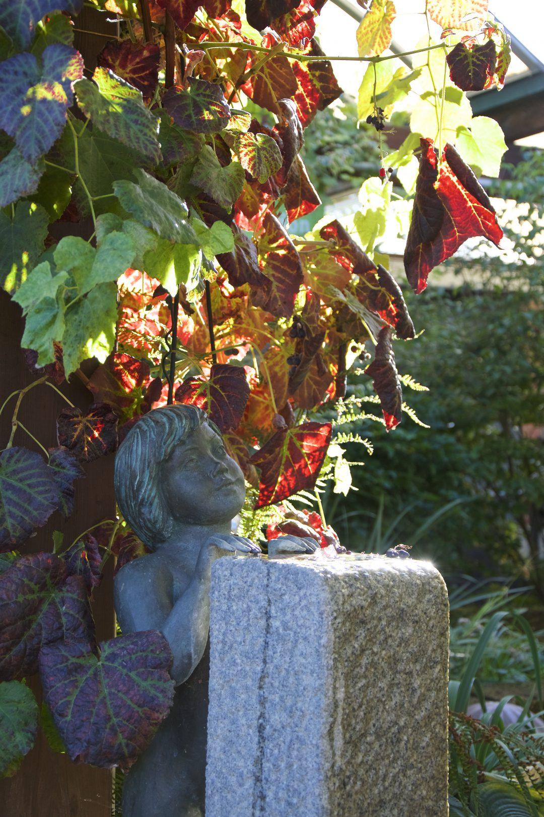 Skulpturen und Pflanzen in unserem Wassergarten