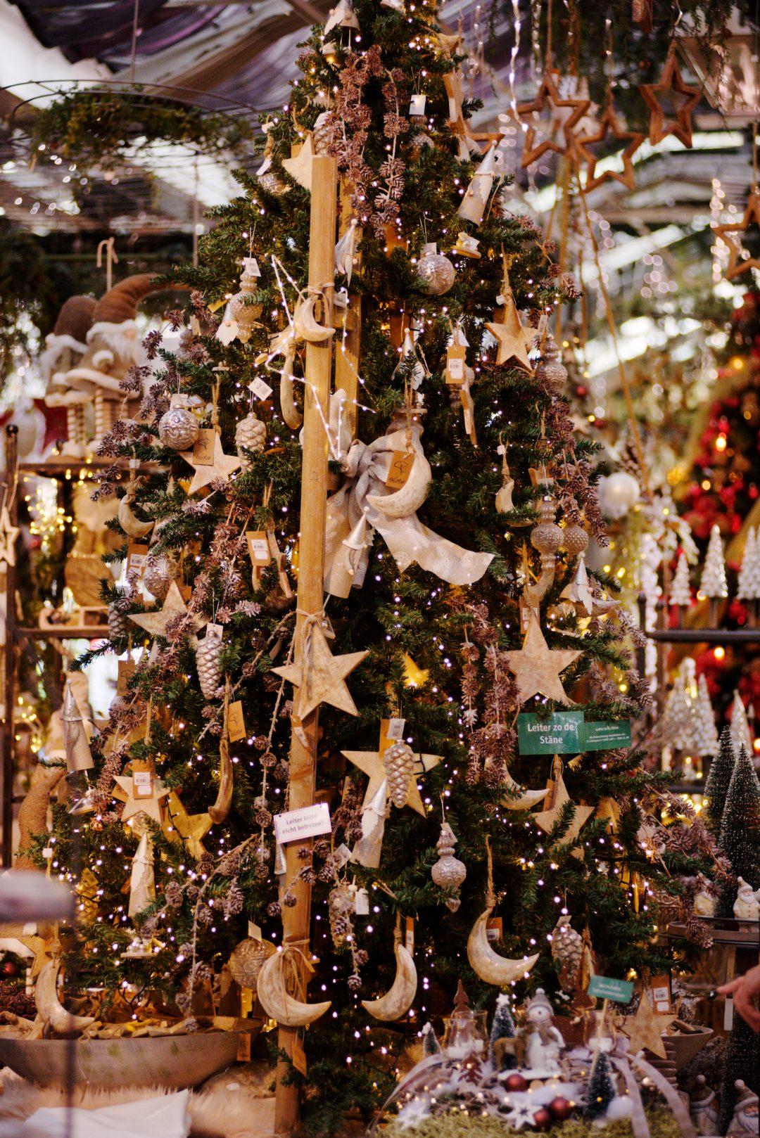 Dekorierter Weihnachtsbaum mit dem Namen Leiter zu den Sternen. Dekoriert mit Holzsternen, Schleifen und einer großen Holzleiter.